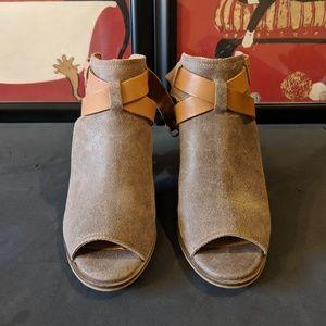 Peep toe backless booties